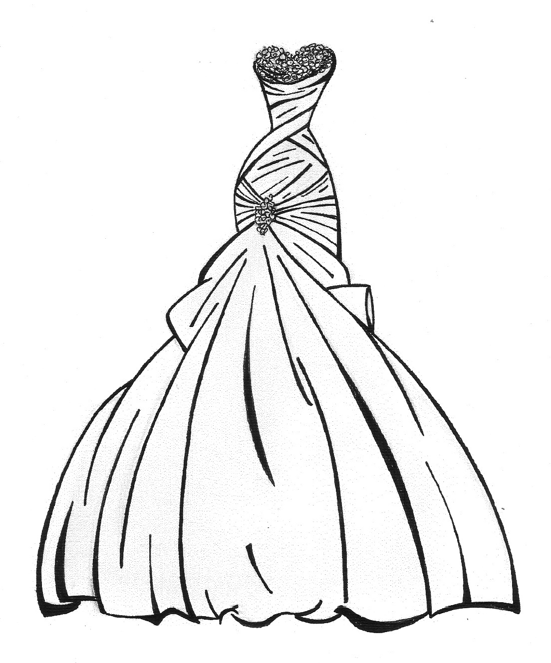dress coloring pages - custom bridal sketches by lauren