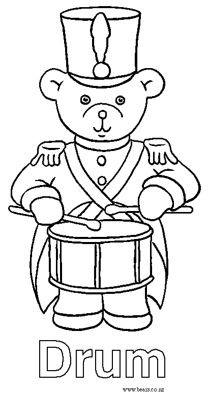 Drum Coloring Page - Bears Coloring Pages Drum