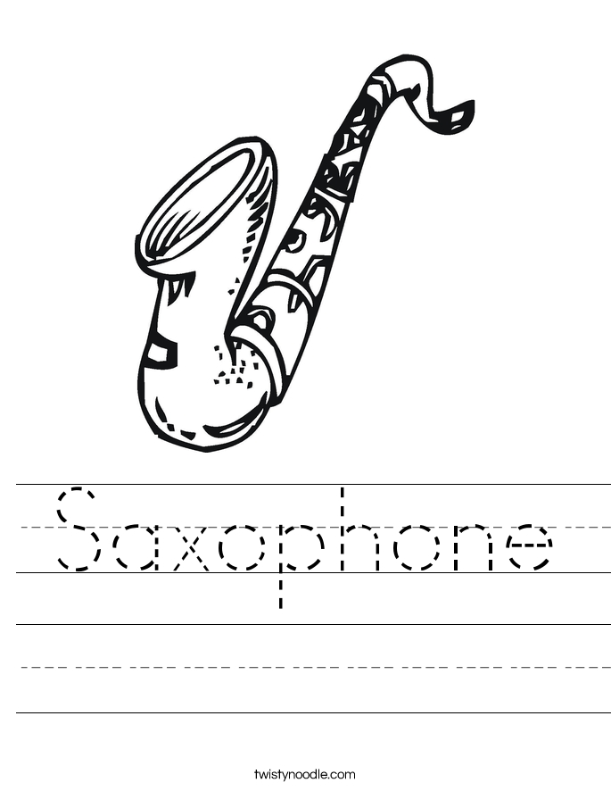 drum coloring page - saxophone 2 worksheet