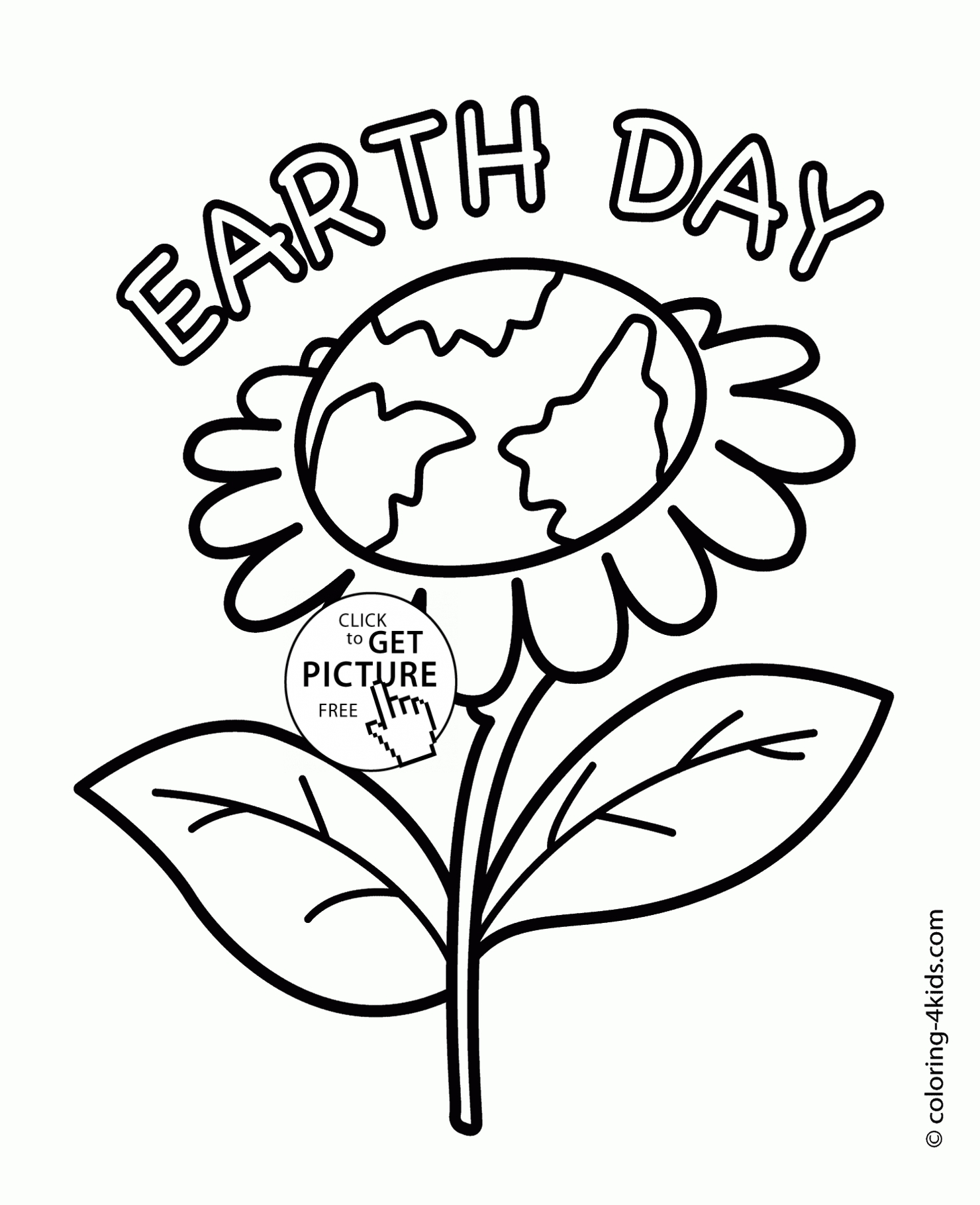 earth day coloring pages - earth flower earth day coloring page for kids coloring pages printables free