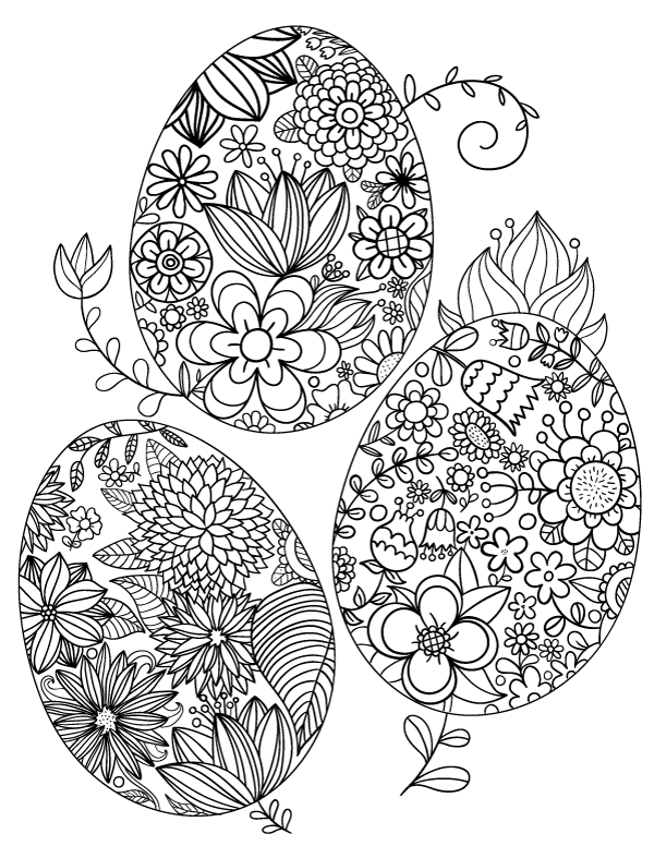 easter adult coloring pages - floral easter egg coloring page