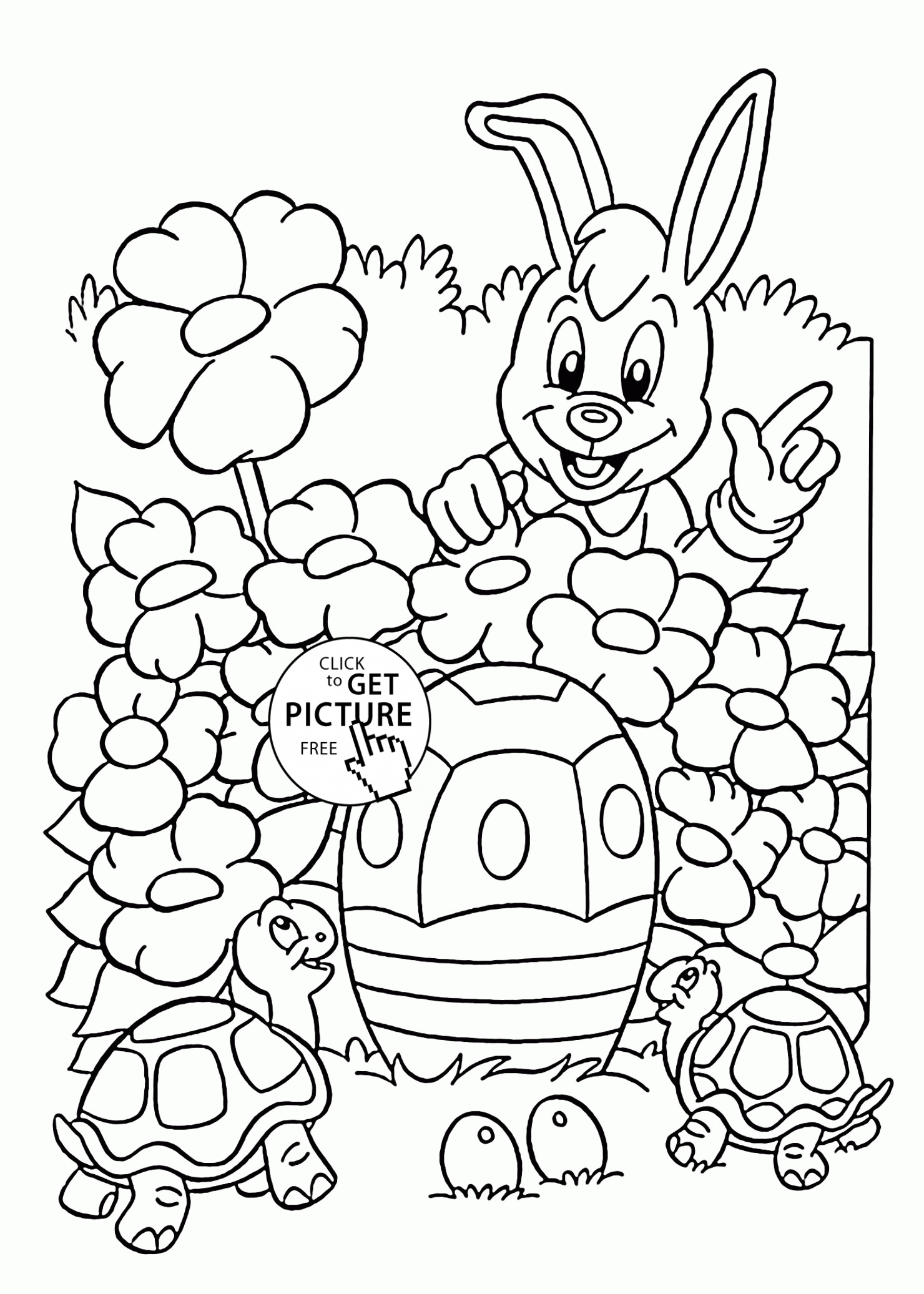 easter bunny coloring pages - easter bunny and turtles coloring page for kids coloring pages printables free