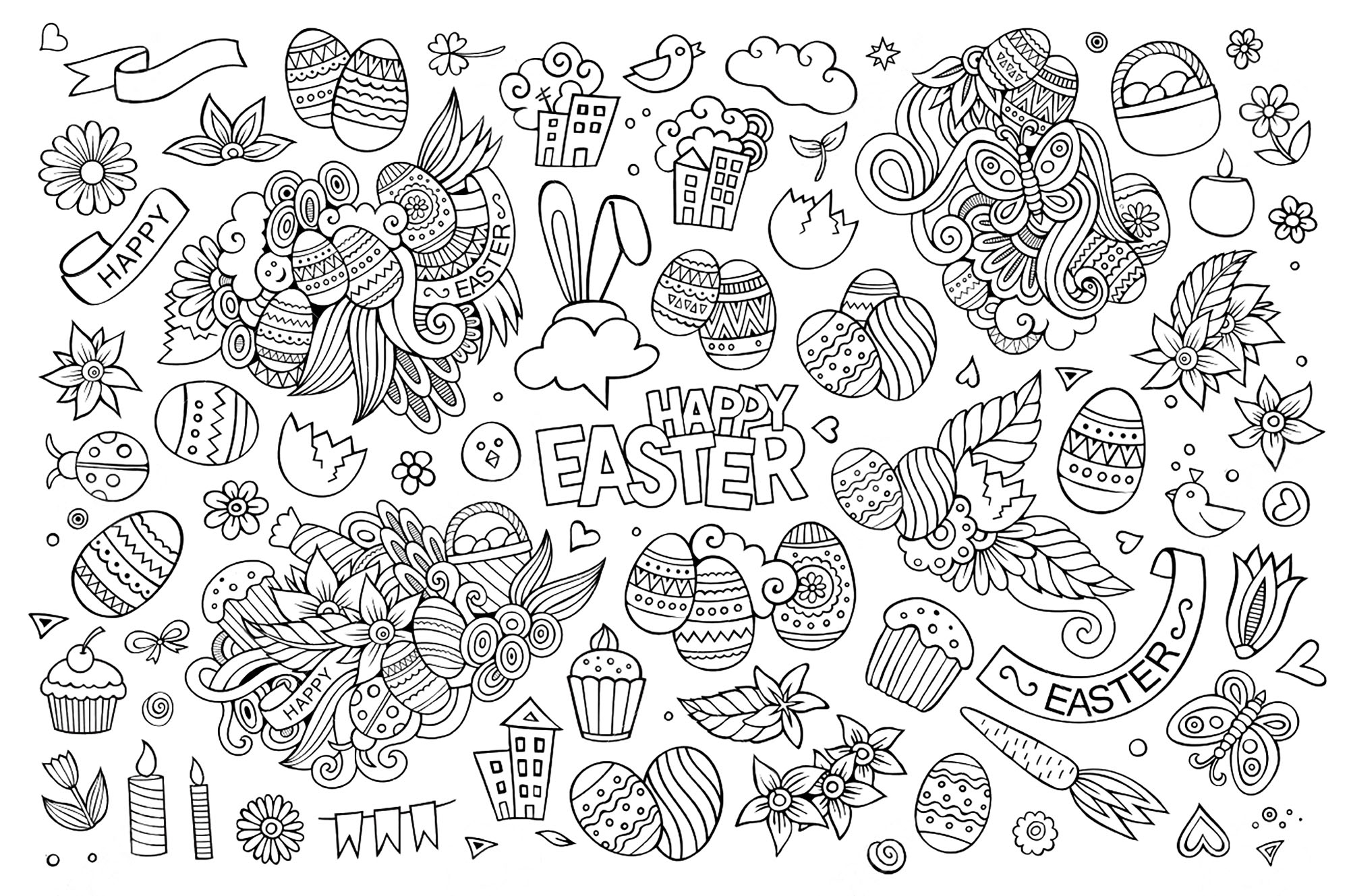 easter coloring pages for adults - easter adult coloring pages image=events easter coloring adult simple easter doodle by olga kostenko 1