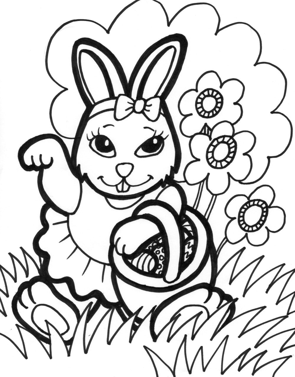 easter coloring pages free printable - easter bunny coloring pages