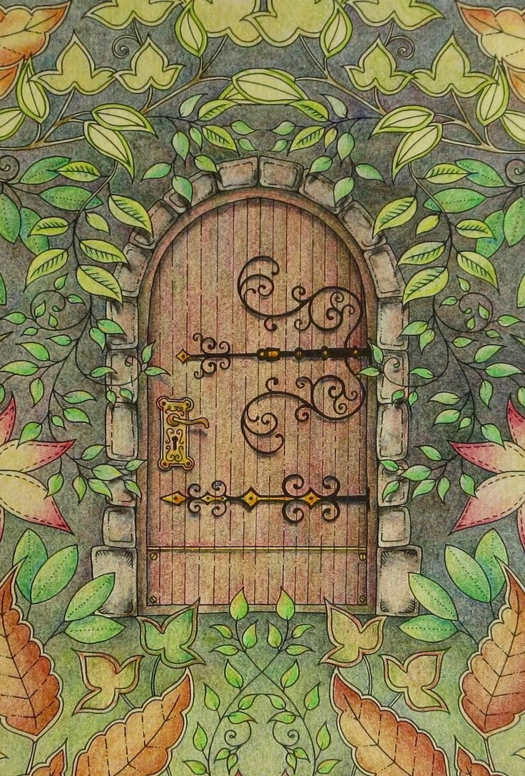 easy adult coloring pages - secret garden door