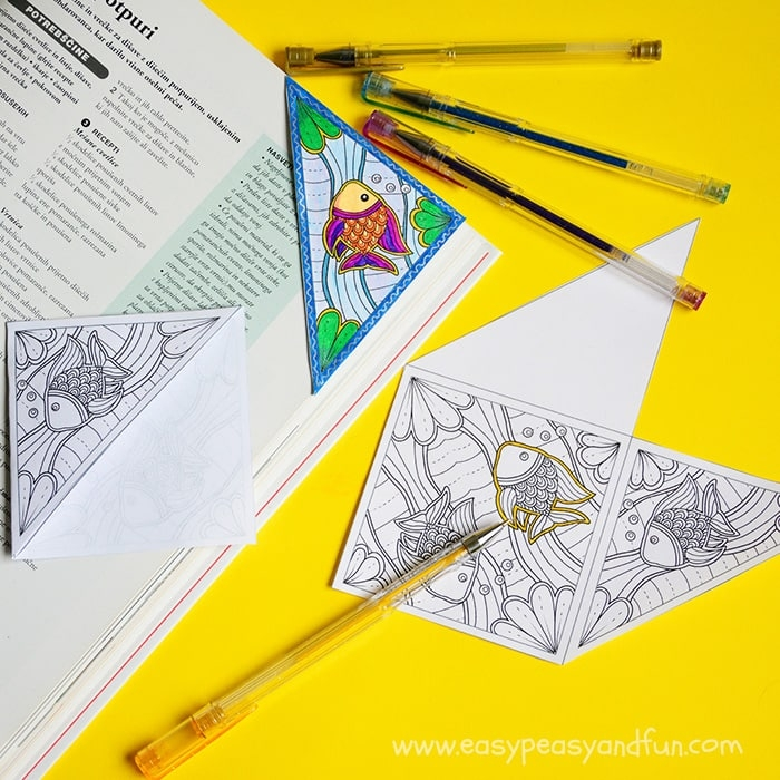 easy adult coloring pages - sea corner bookmark to color