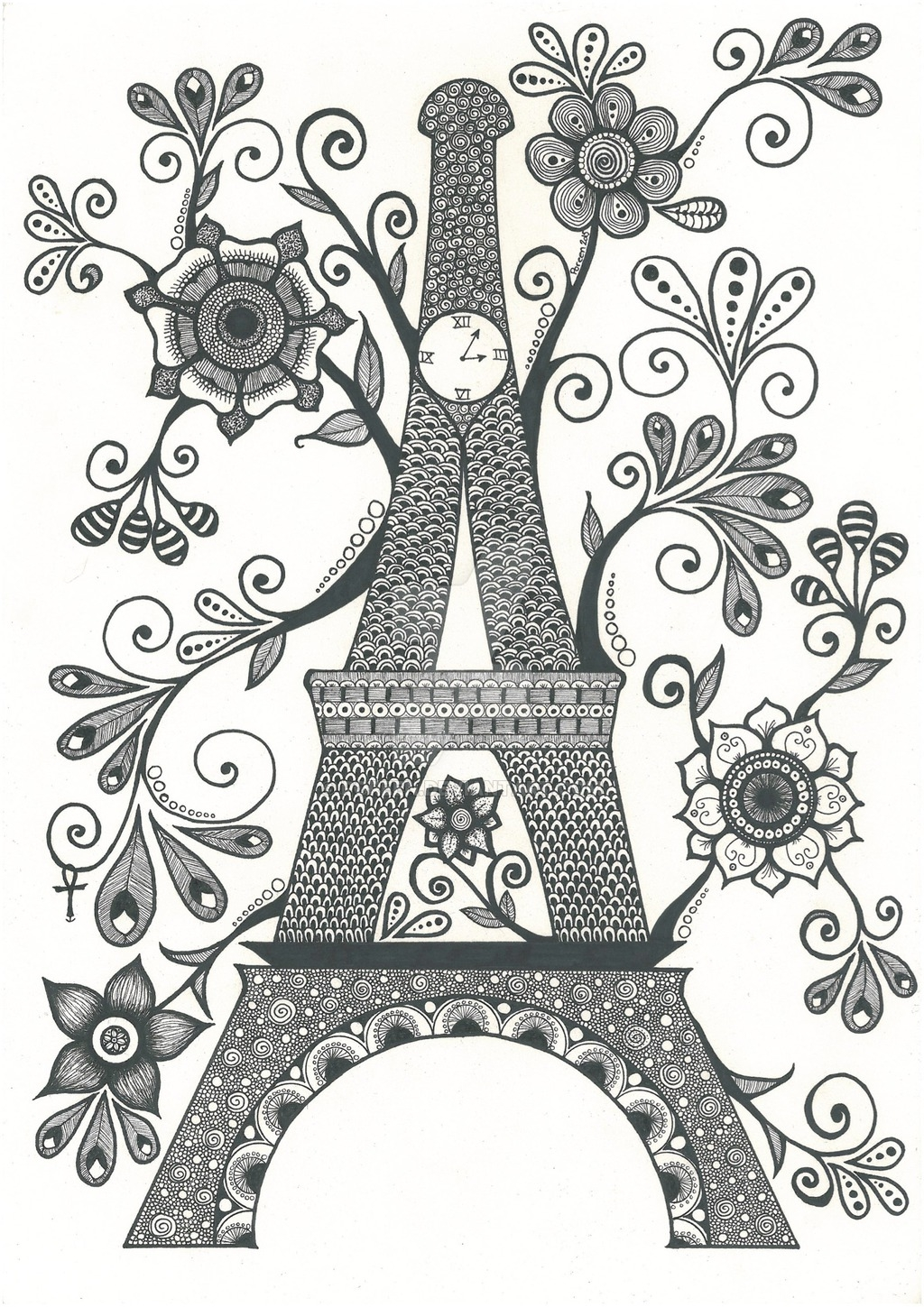 easy adult coloring pages - Zentangle Eiffel tower