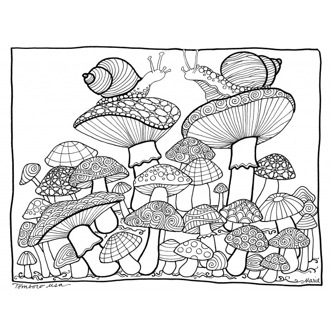 easy mandala coloring pages - mushroom coloring page