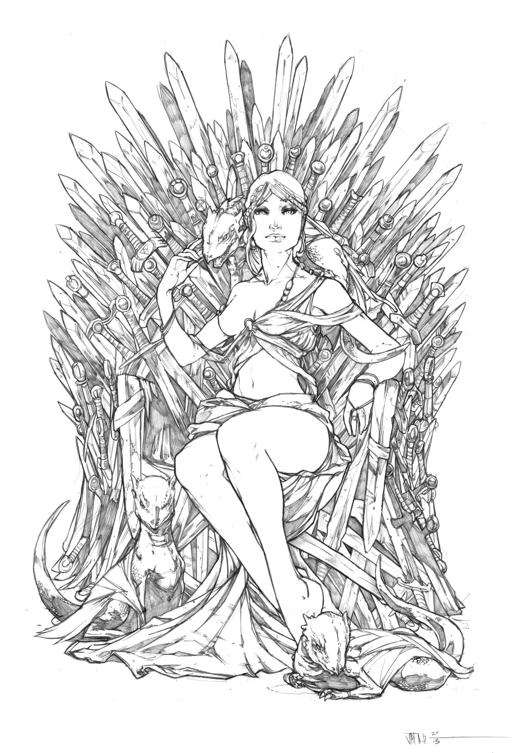 easy mandala coloring pages - Princess Daenerys on the Iron Throne