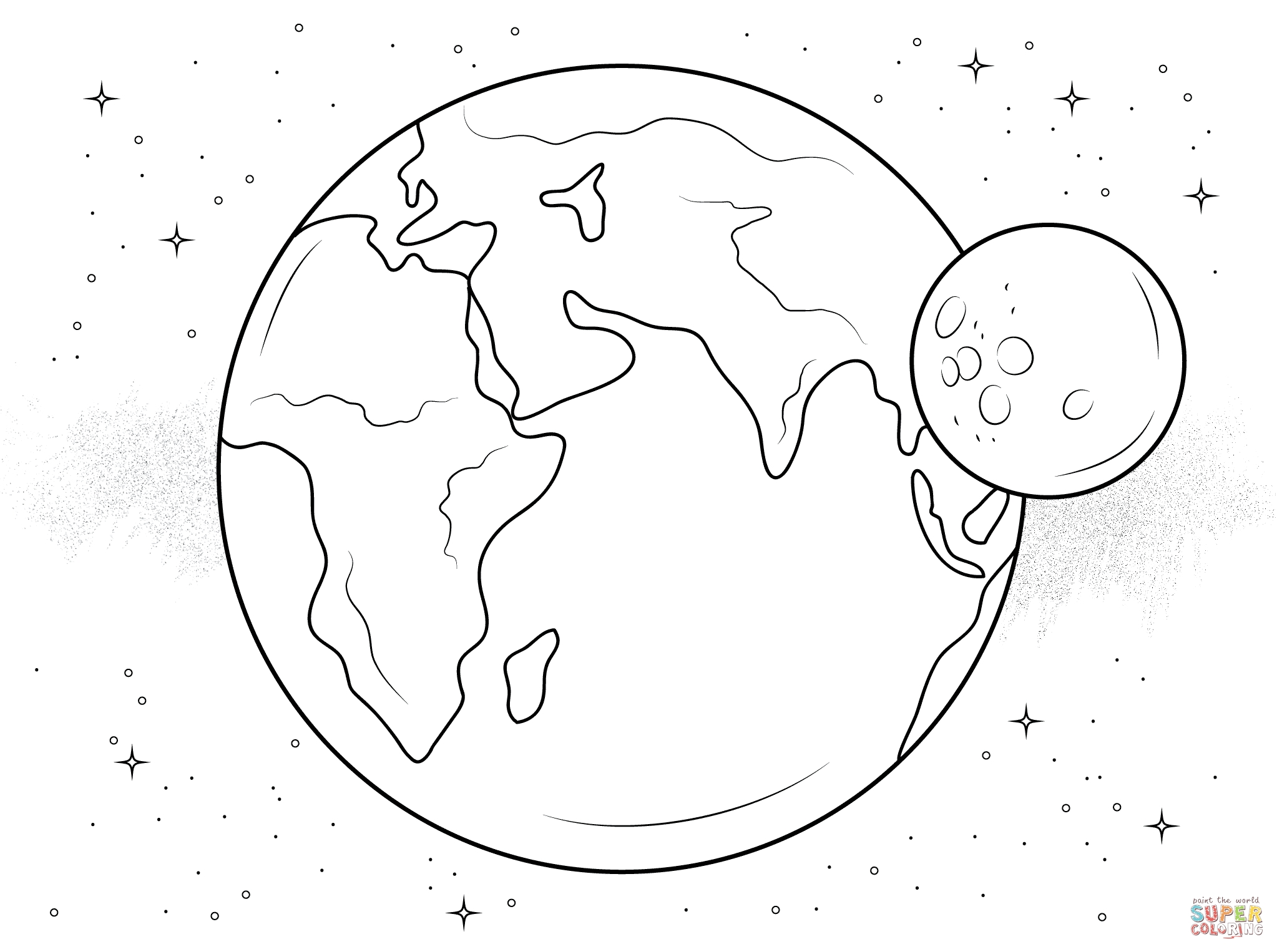 eclipse coloring pages - la terre et sa lune