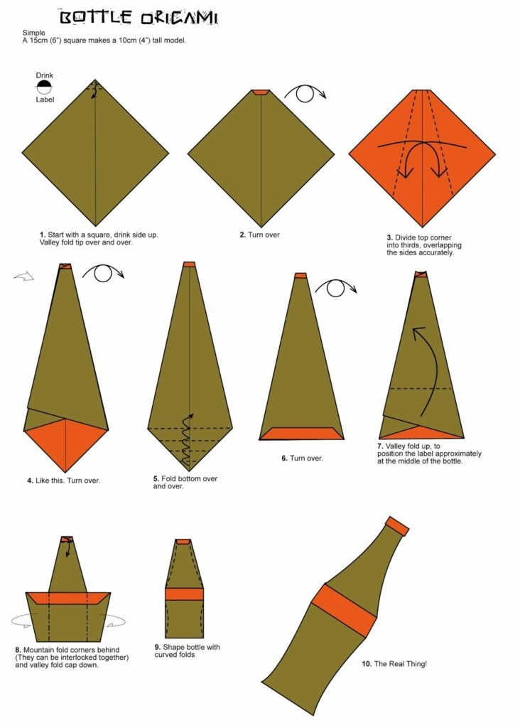 educational coloring pages - bottle origami folding diagram paper origami guide