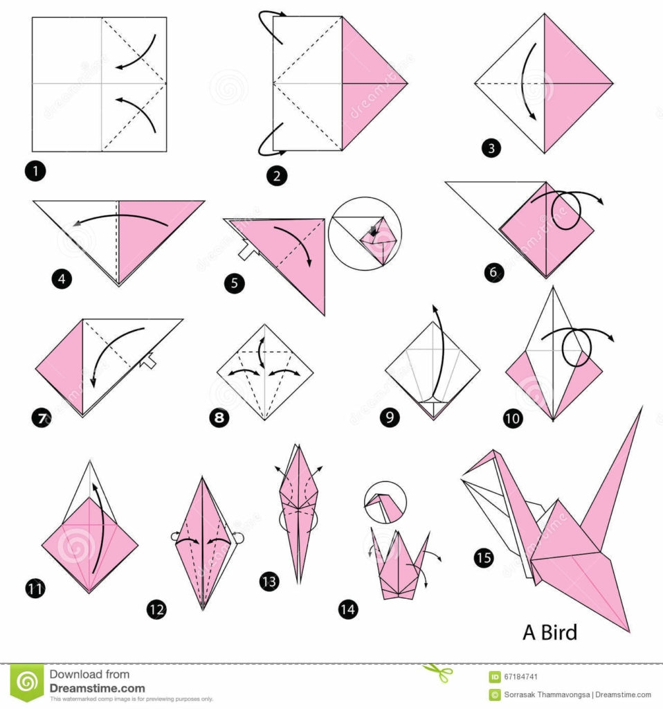 educational coloring pages - step by step instructions how to make origami a bird stock vector