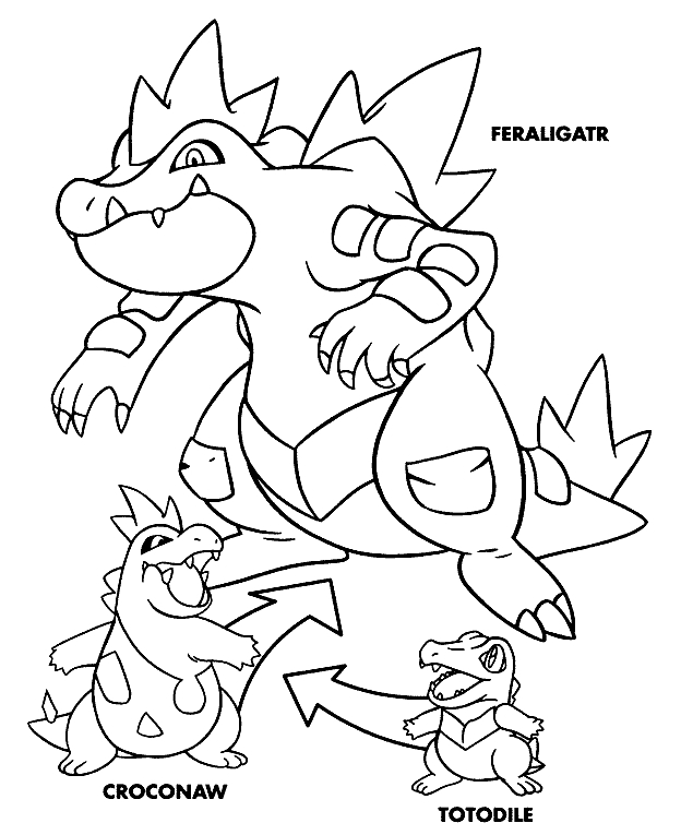 eevee coloring pages - pokemon feraligatortml