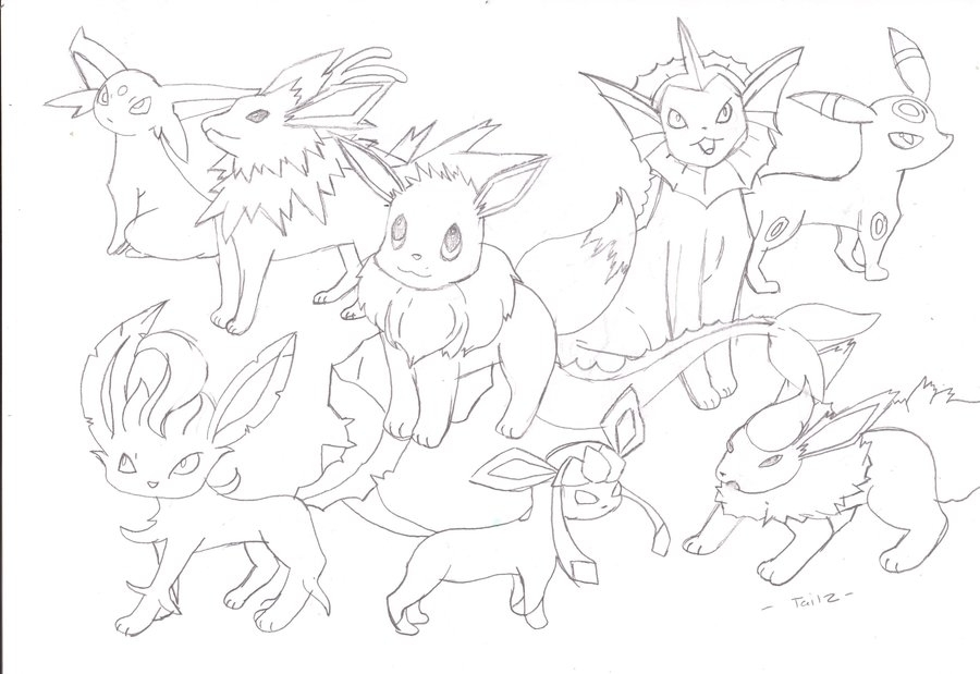 eevee evolutions coloring pages - coloring pages eevee evolutions to her sketch templates