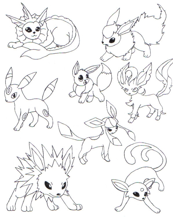 eevee evolutions coloring pages - pretty coloring pokemon coloring pages eevee evolutions for pokemon coloring pages eevee evolutions all free printable