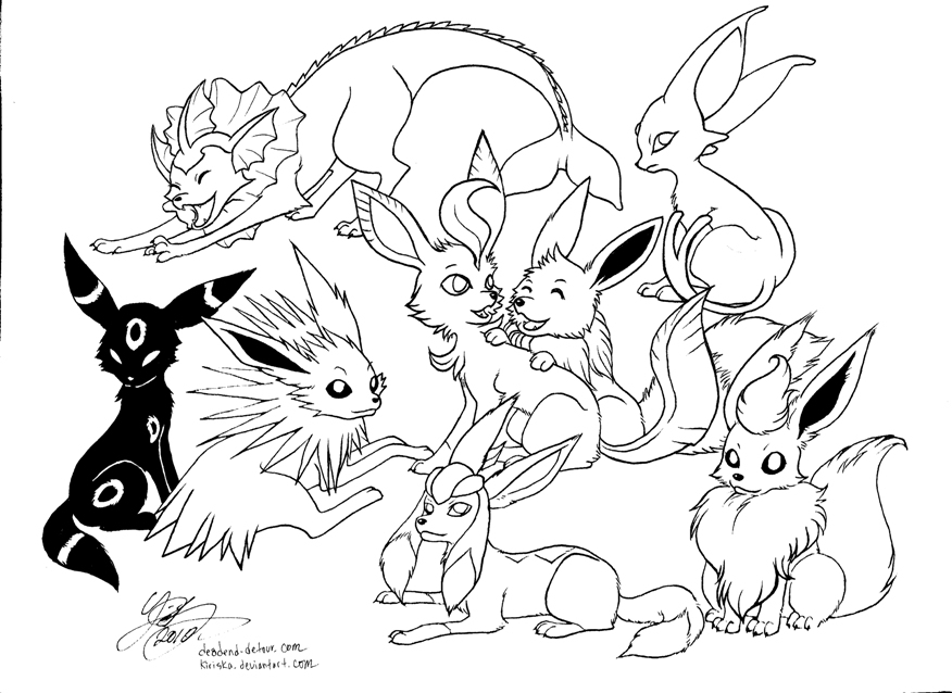 eevee evolutions coloring pages - pokemon pictures of eevee
