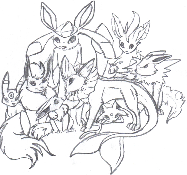 eevee evolutions coloring pages - pokemon eevee coloring pages images