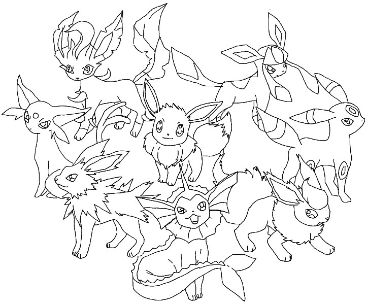 Eevee Evolutions Coloring Pages - Pokemon Eevee Coloring Pages