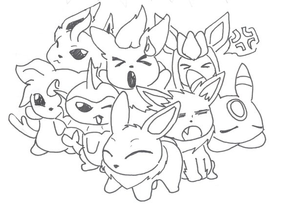 eeveelutions coloring pages - pokemon coloring pages eevee evolutions all