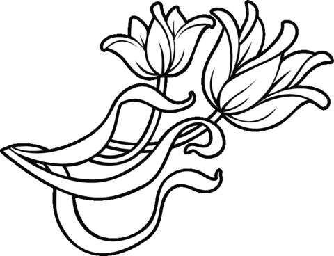 egg coloring page - decoration flowers