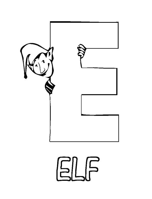 egg coloring page - learn letter e is for elf coloring page