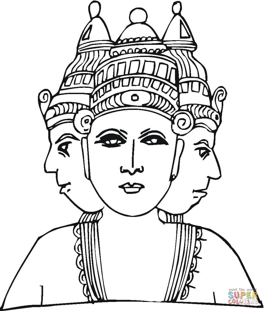 egyptian coloring pages - divinite hindoue avec trois tetes