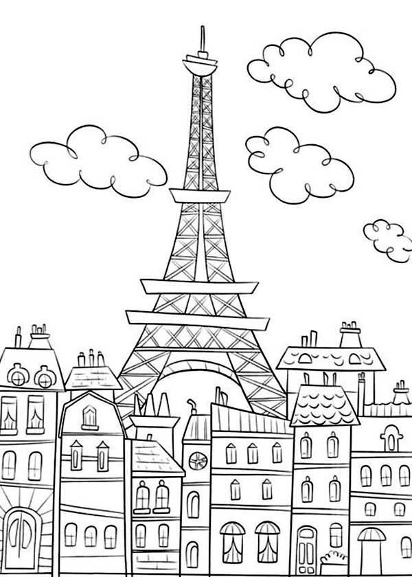 eiffel tower coloring page - eiffel tower drawing