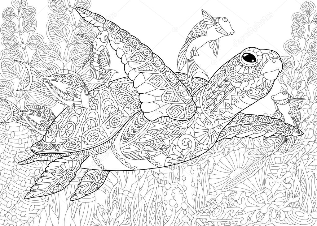 elephant adult coloring pages - stock illustration zentangle stylized aquarium