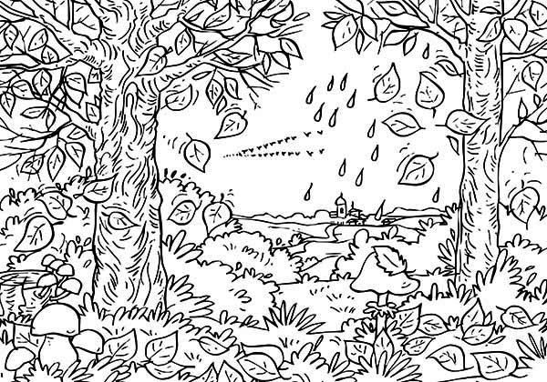 elephant adult coloring pages - autumn leaf in the forest coloring page
