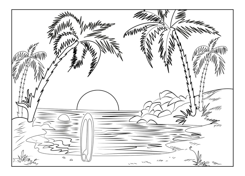 elephant adult coloring pages - coloring page beach