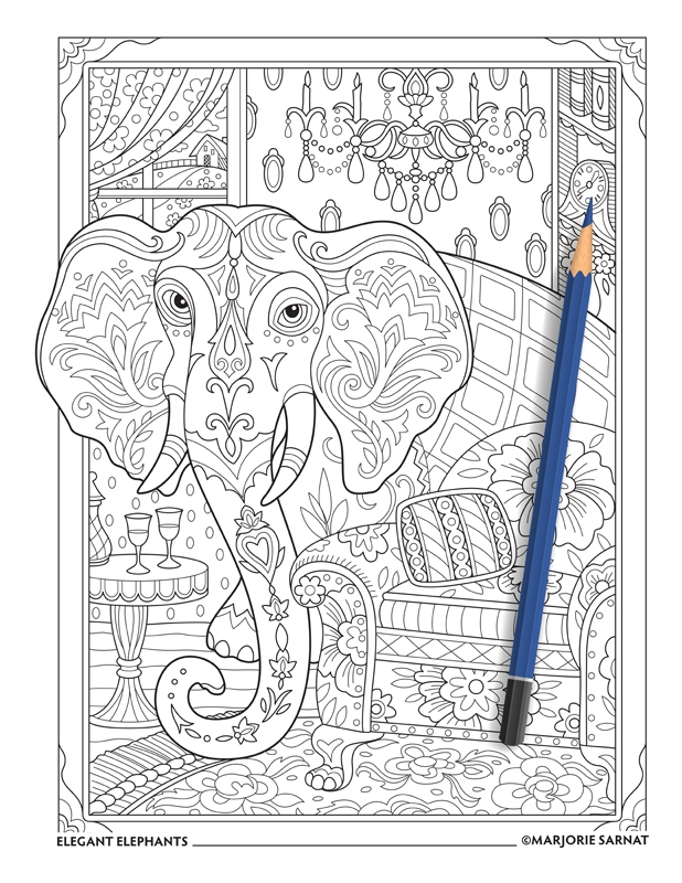 elephant adult coloring pages - elegant elephants