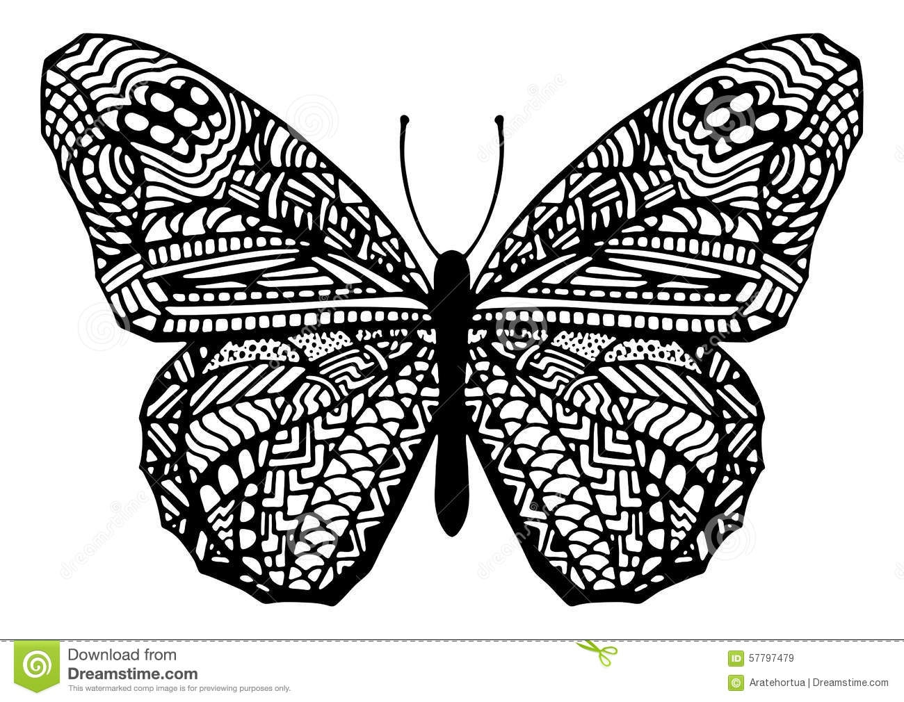 elephant adult coloring pages - stock illustration hand drawn zentangle style butterfly illustration vector image