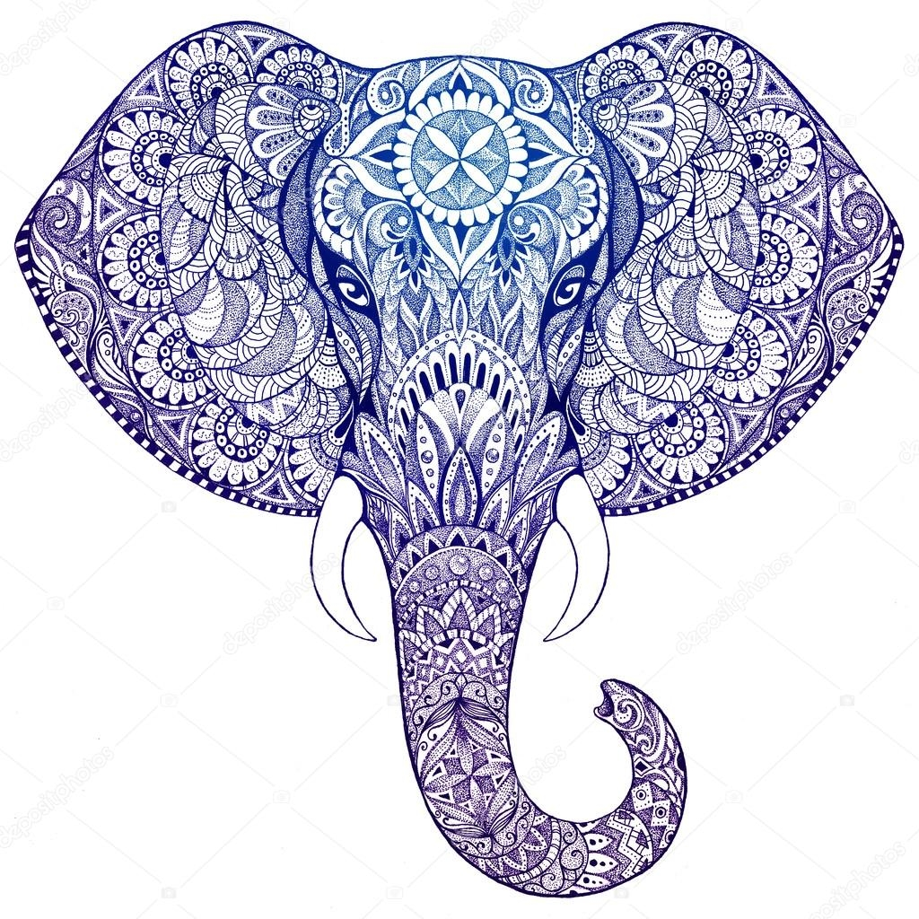 elephant adult coloring pages - stock photo tattoo elephant with patterns and