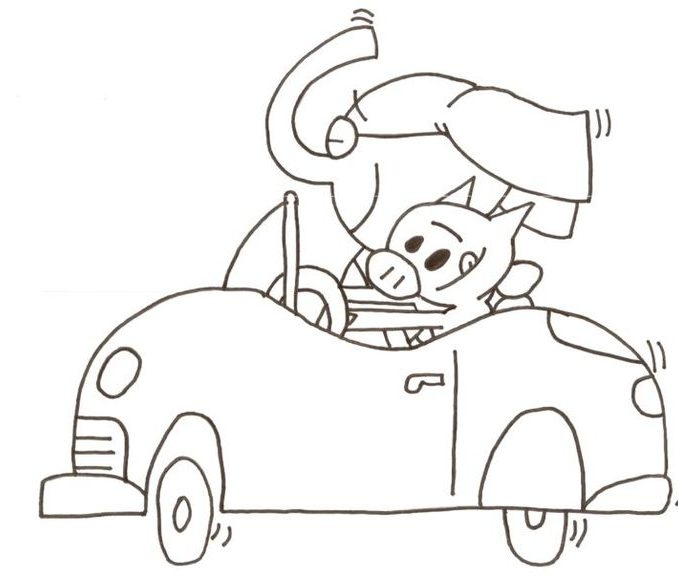 elephant and piggie coloring pages - piggie and elephant coloring pages