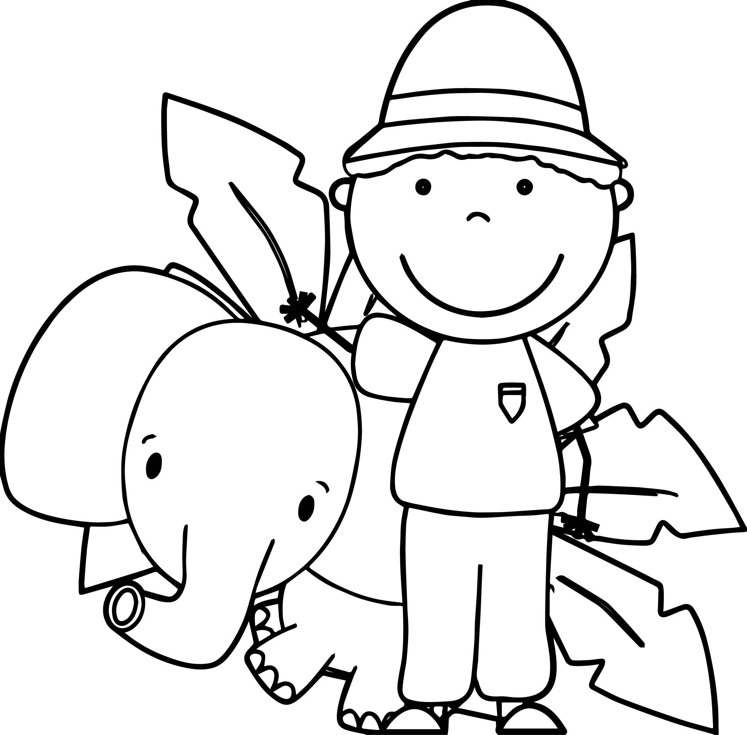 Elephant Coloring Pages - Zoo Keeper and Elephant Coloring Page