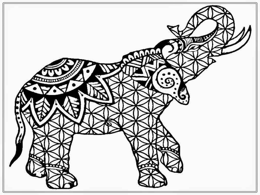 elephant coloring pages for adults - adult coloring elephant pleted sketch templates