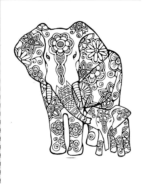 elephant coloring pages for adults -