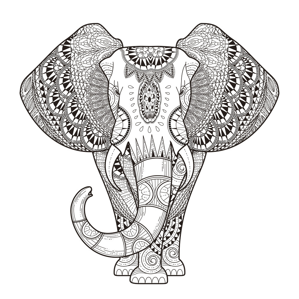elephant coloring pages for adults - adults