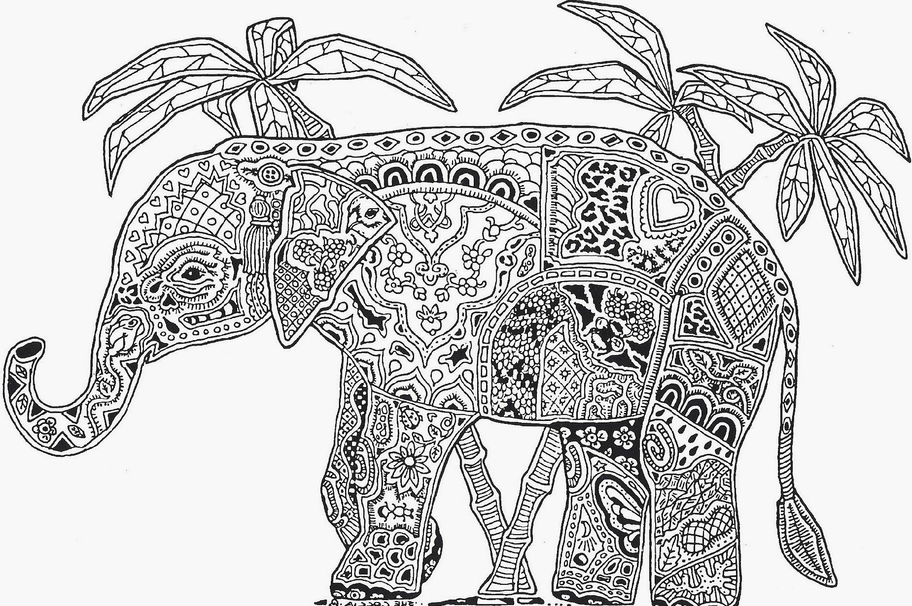 elephant coloring pages for adults - elephant coloring page for adults adult coloring pages free african elephant realistic coloring pages 3