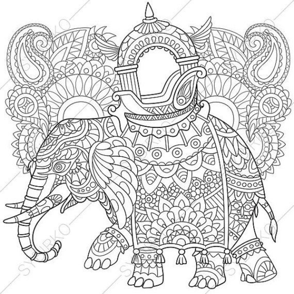 elephant coloring pages for adults - free printable elephant coloring pages for adults zc579