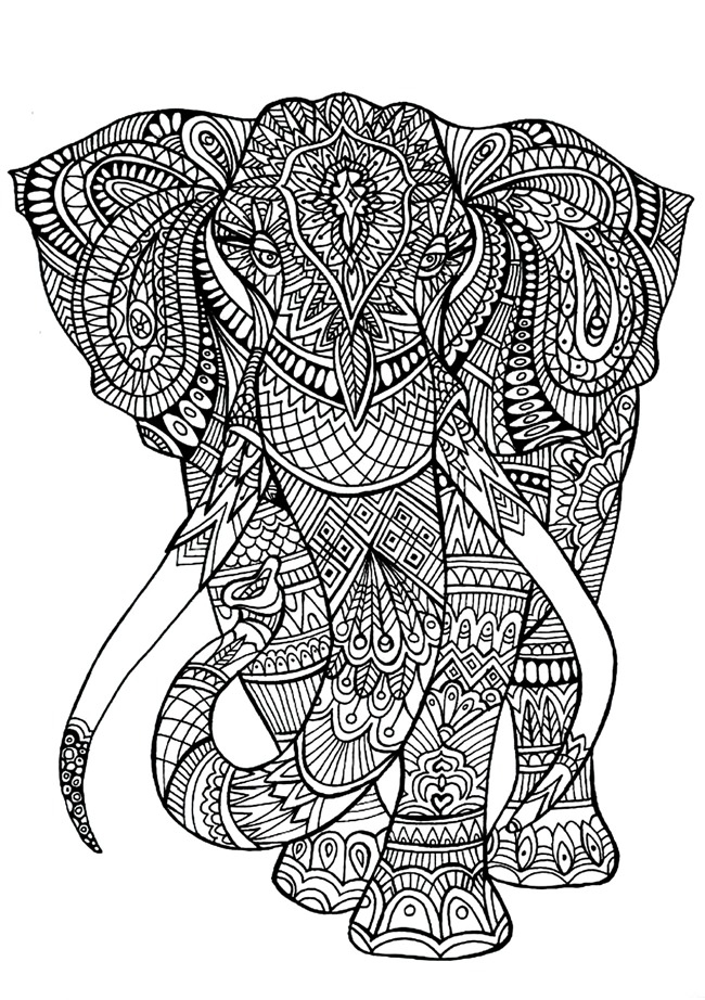 elephant coloring pages for adults - printable coloring pages for adults 15 free designs