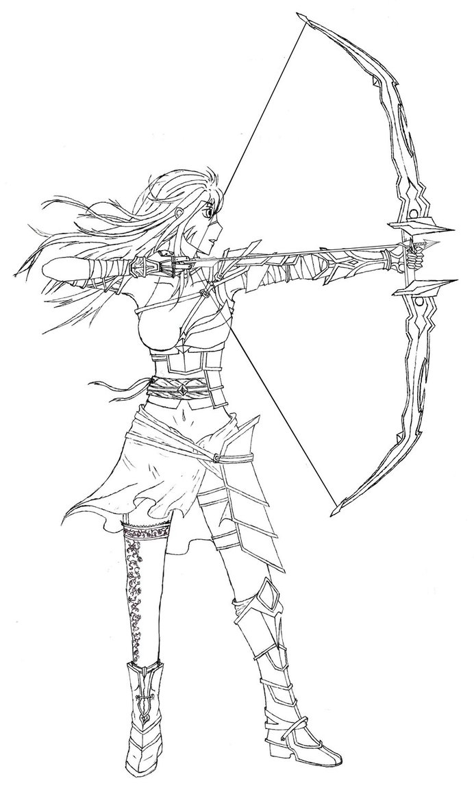 elf coloring pages - Female Archer Lineart