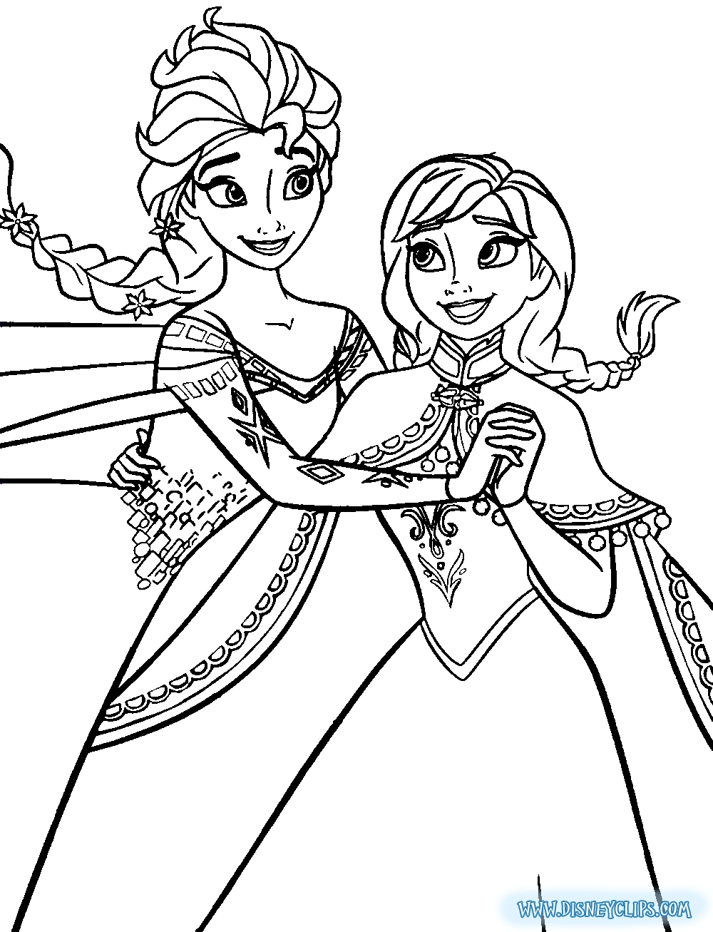elsa anna coloring pages - 586