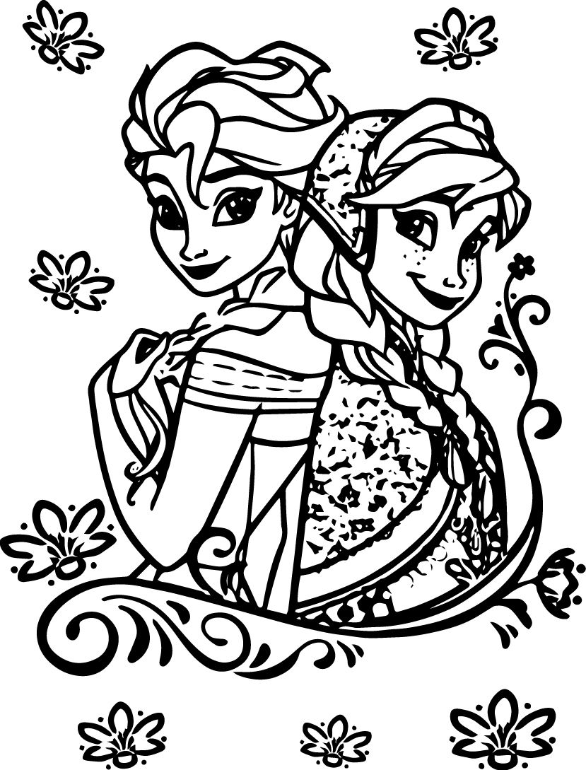 elsa anna coloring pages - elsa and anna coloring pages