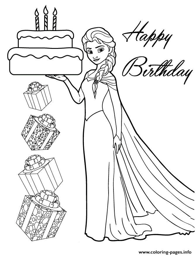 elsa printable coloring pages - elsa holding birthday cake for you disney printable coloring pages book