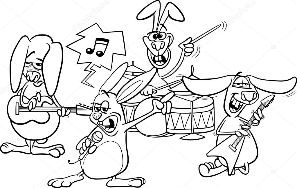 elvis coloring pages - stock illustration rabbits rock music band coloring