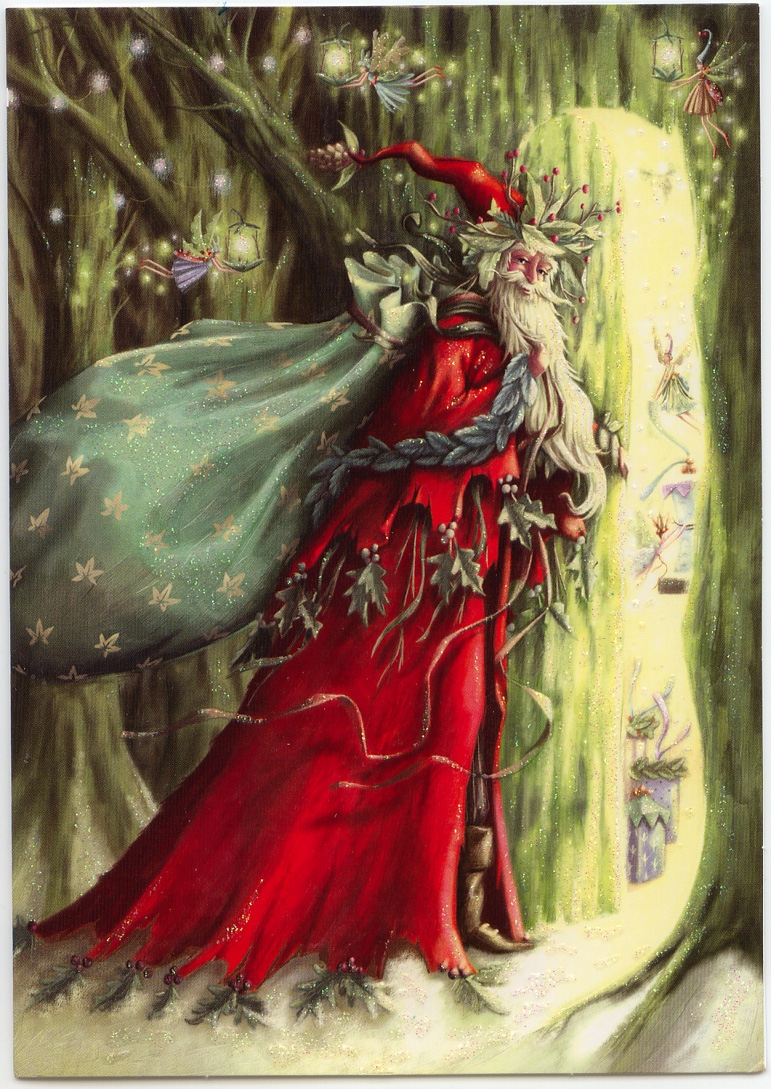 enchanted forest coloring pages - fantasy christmas cards