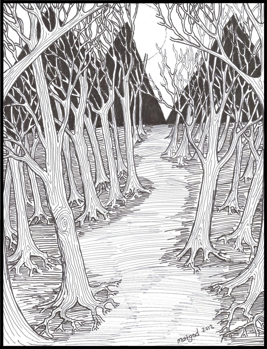 enchanted forest coloring pages - Scary Forest