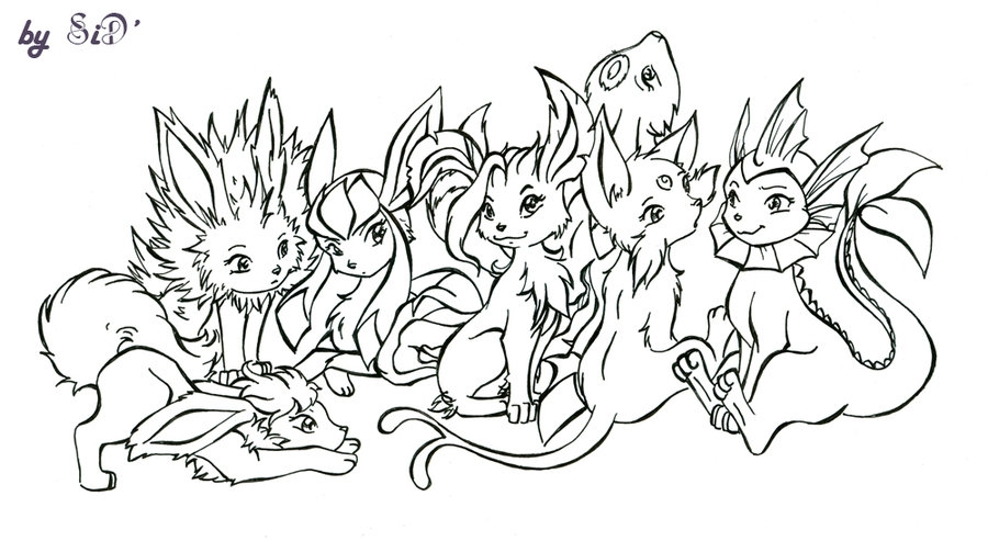 espeon coloring pages - Evolution of the Eevee
