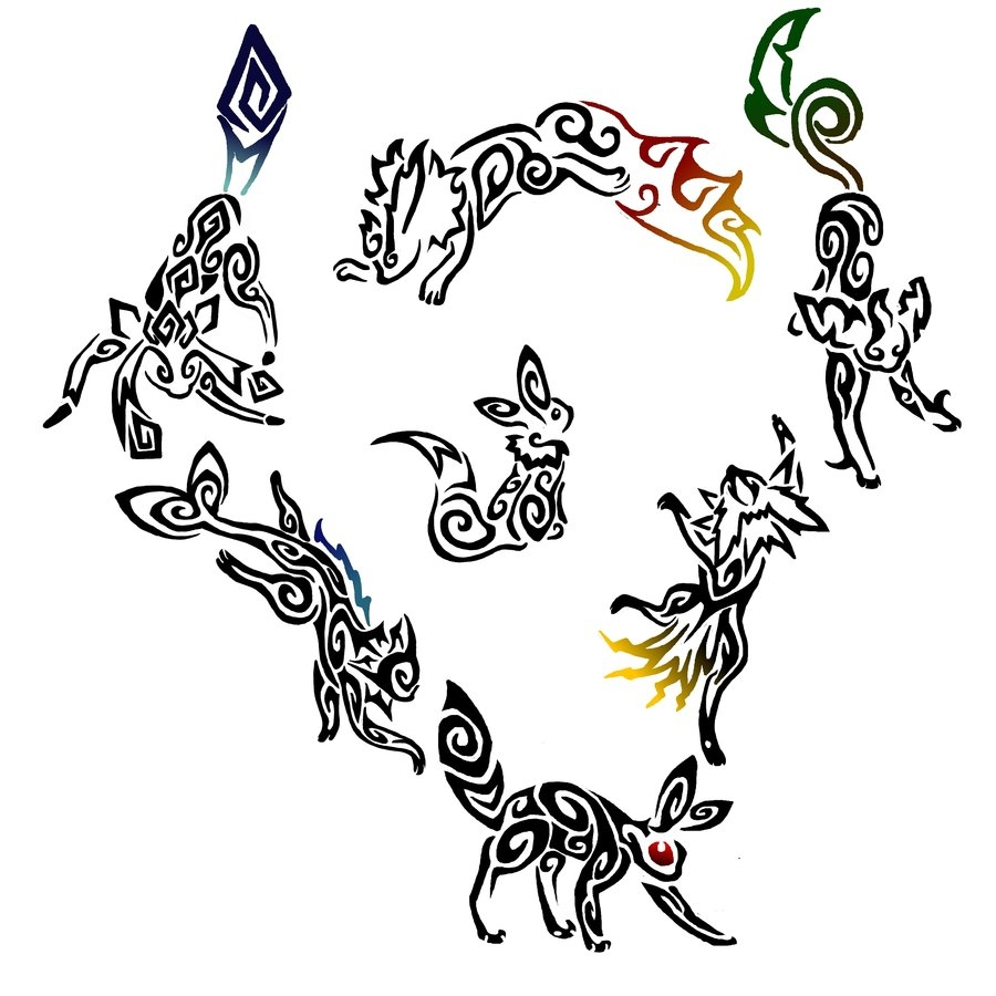 espeon coloring pages - New Tribal Eeveelutions